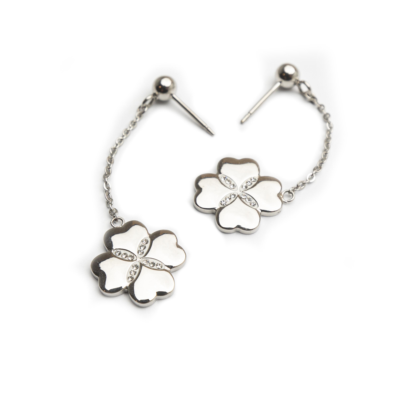 Steel Earrings Set With White Zirconi.