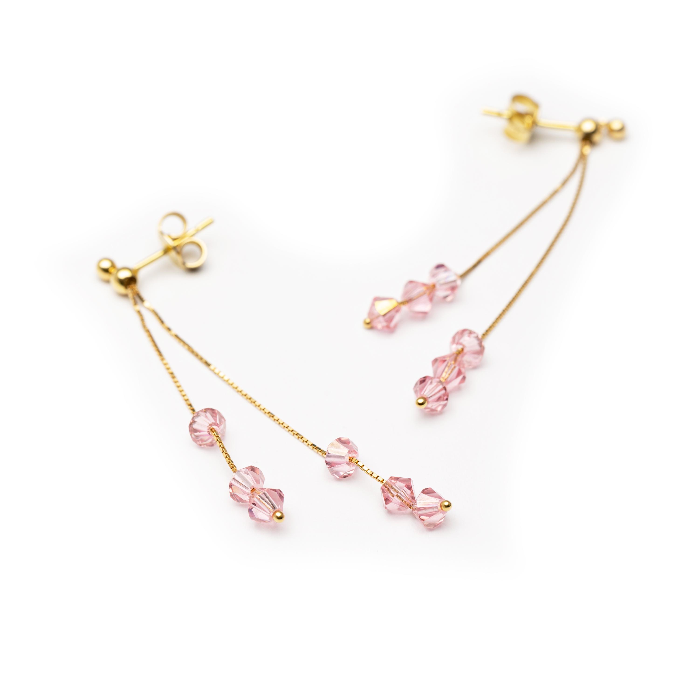 18kt Yellow Gold Long Pink Xircon Earrings.