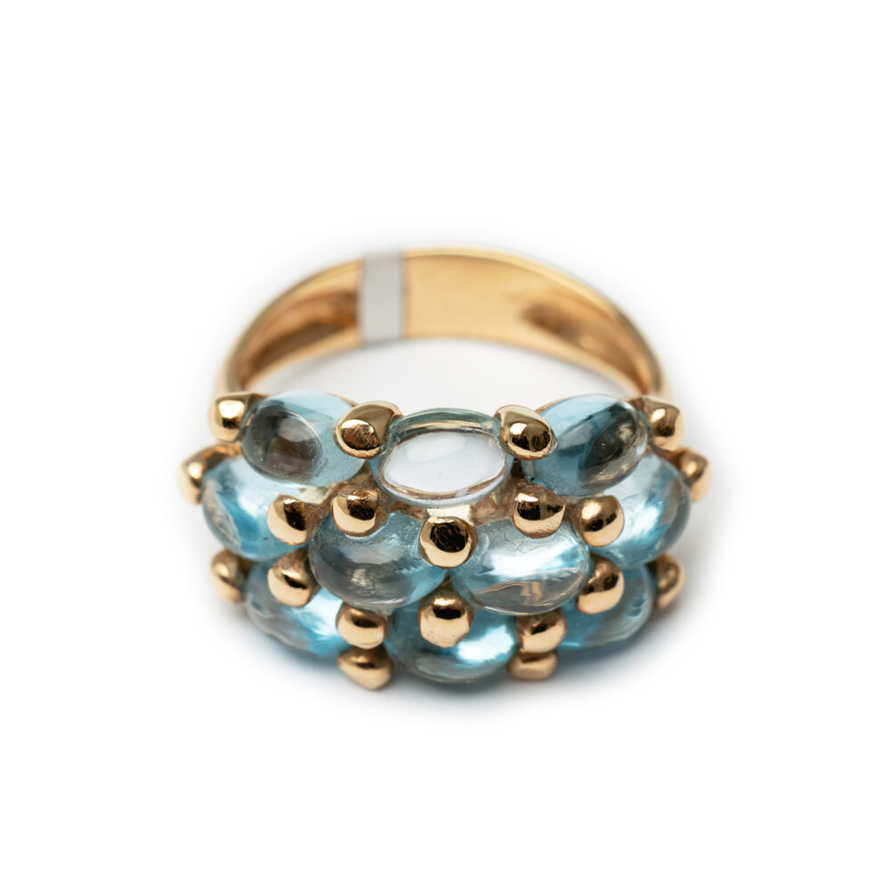18kt Rose Gold Aqua Marine Ring.