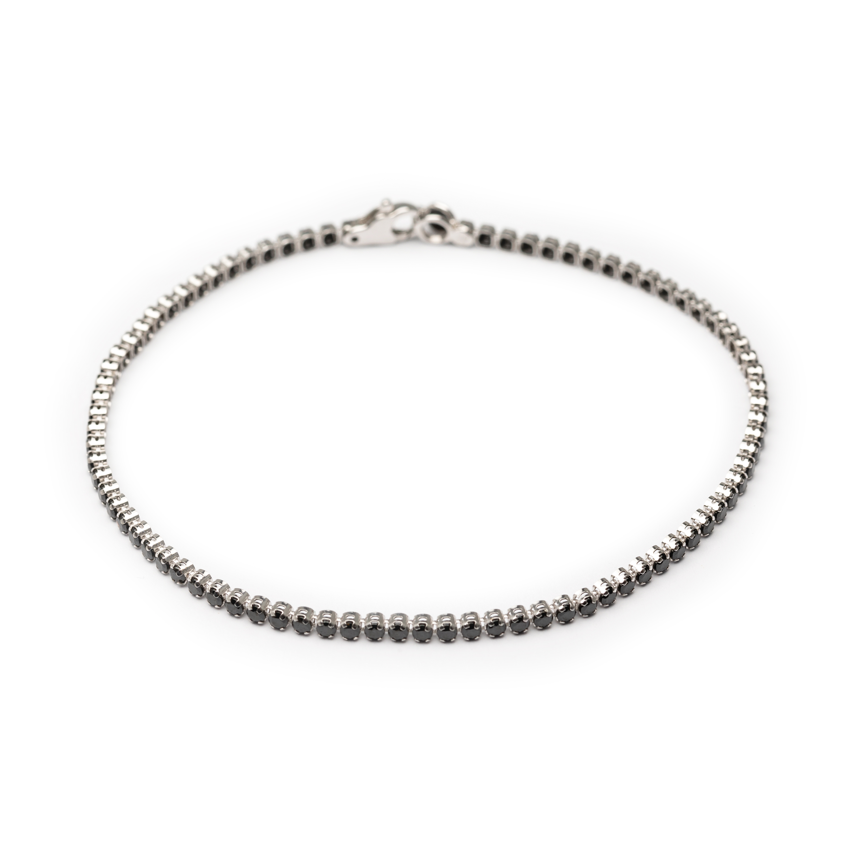 18kt White Gold Tennis Bracelet Set With Black Zirconia.