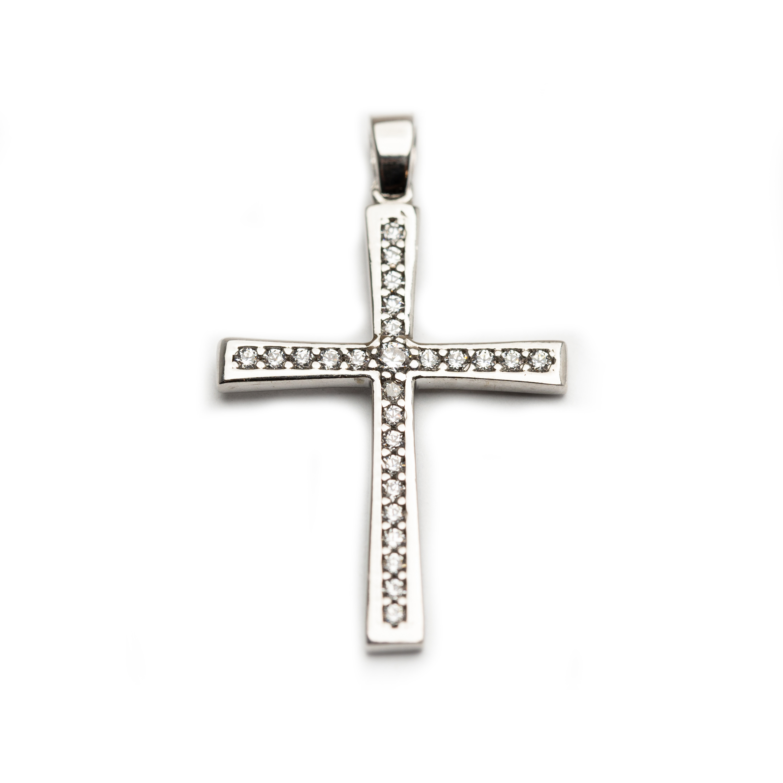 18kt White Gold Ladies Cross Set With White Zirconia.