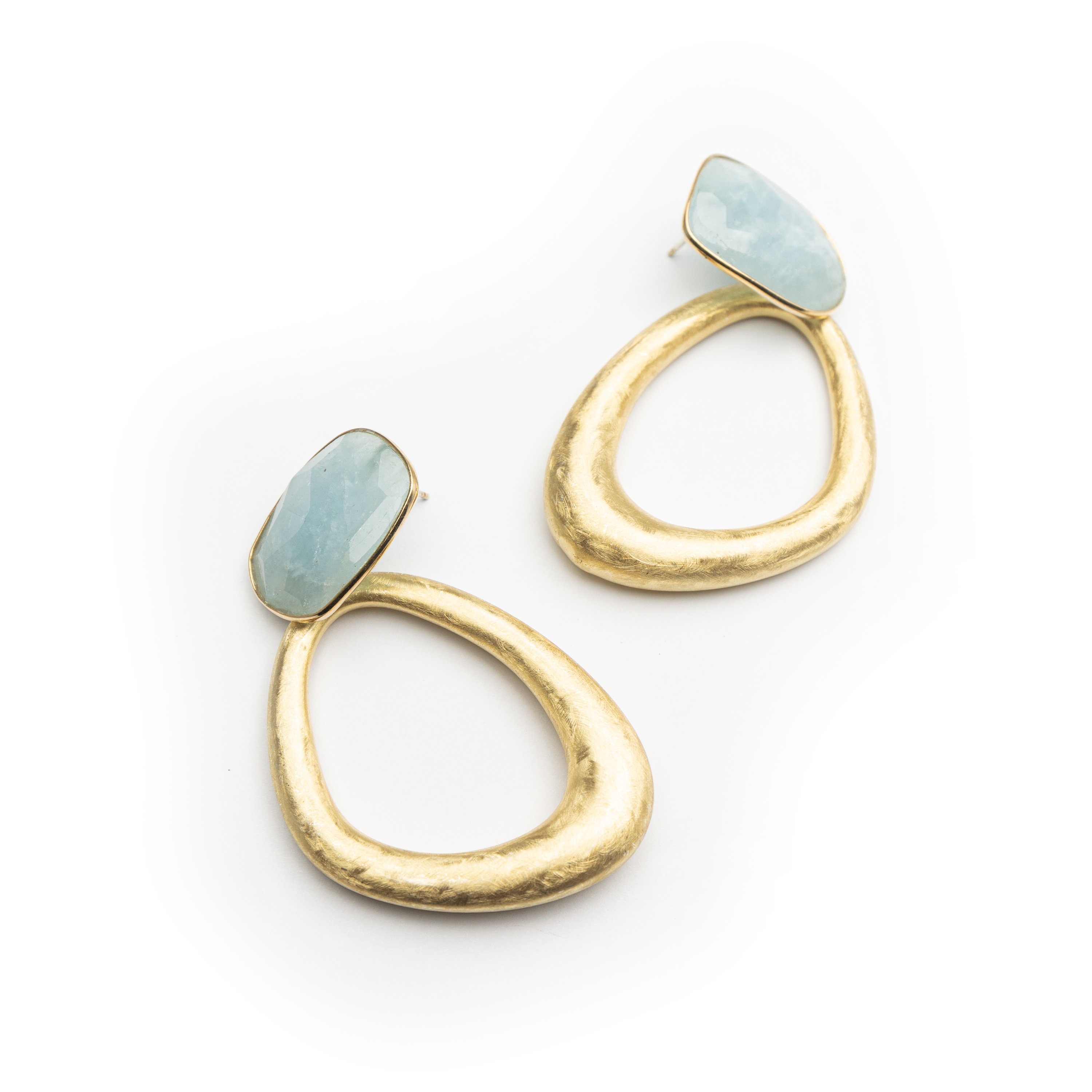 Silver 925 ,yellow Gold Plated Natural Stone Chunky Earrings.