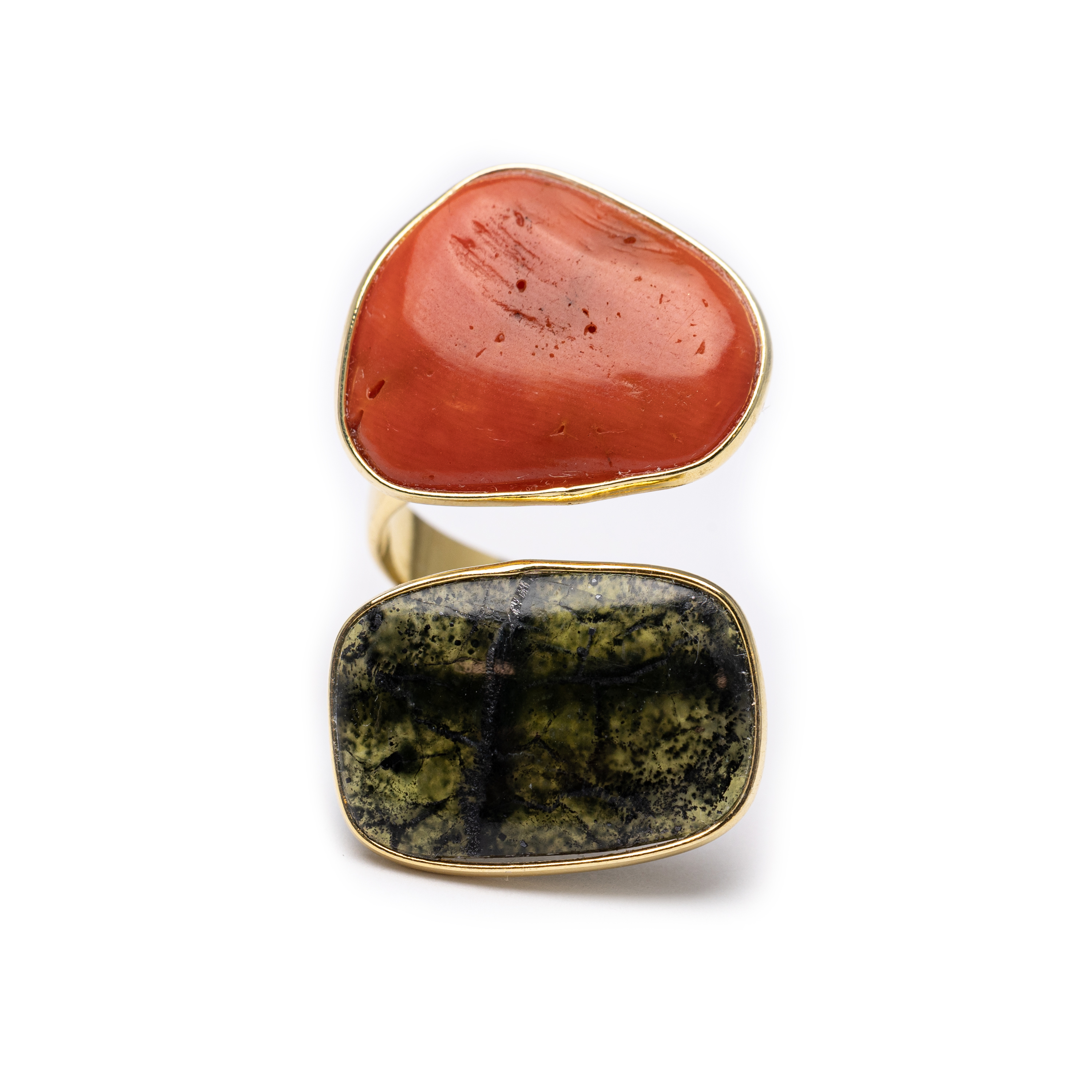 Silver 925 , Yellow Goold Plated Bamboo Coral Ring With Natural Stone.