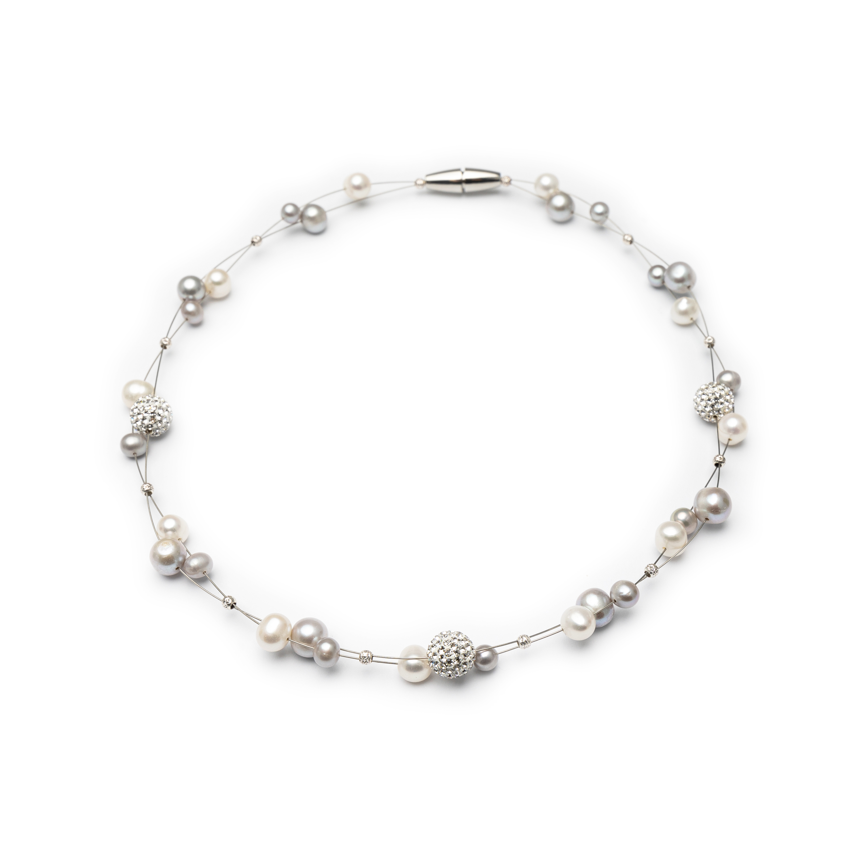 Silver 925, Fresh Water Pearl And Crystal Collier.