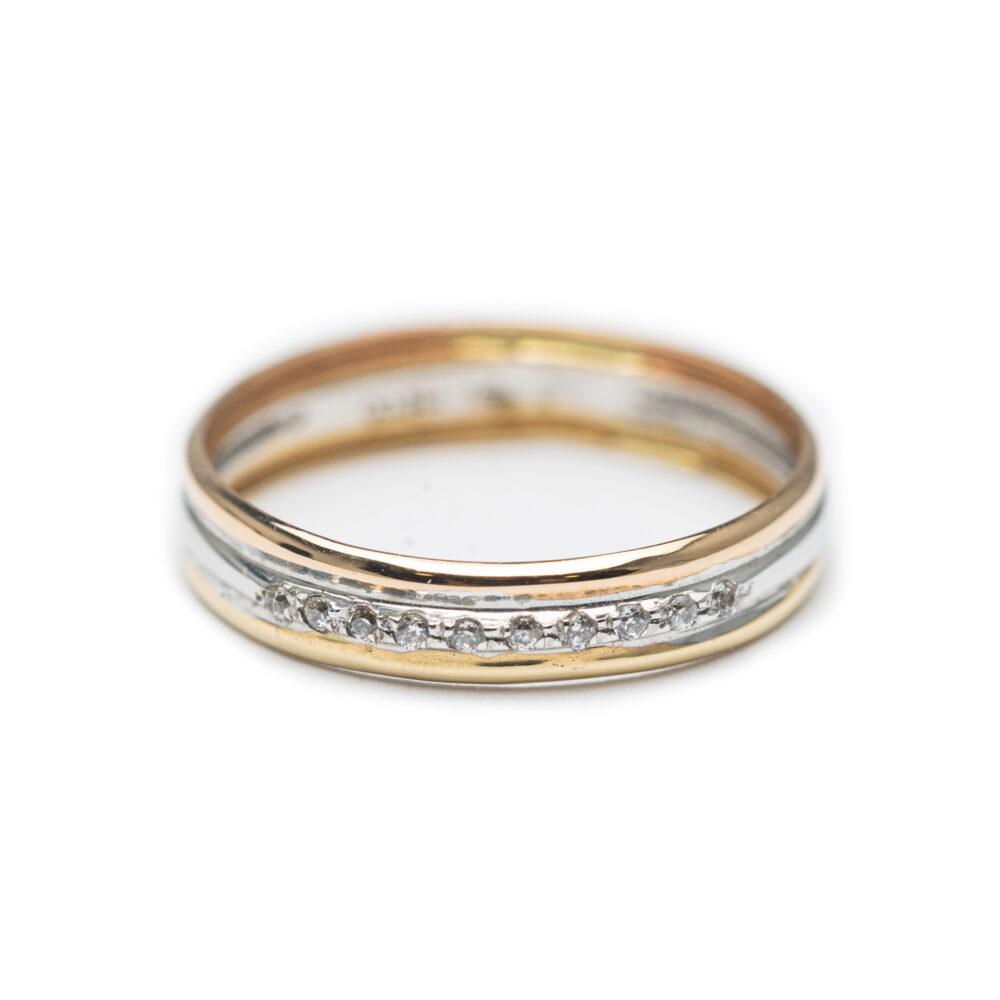 18kt Three Coloured Designed Ring.