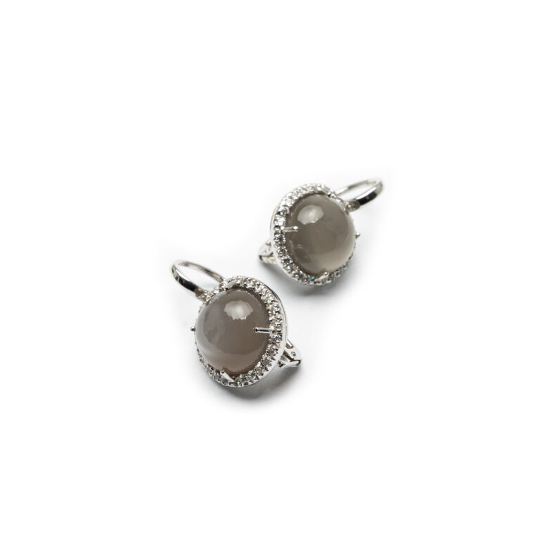 18kt White Gold Designed Earrings With Smokey Quartz And Zirconia.