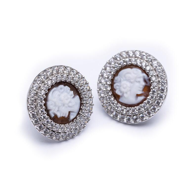 Silver Cameo Stud Earrings